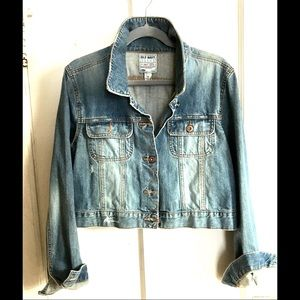 Distressed Crop Jean Jacket - Never worn!!